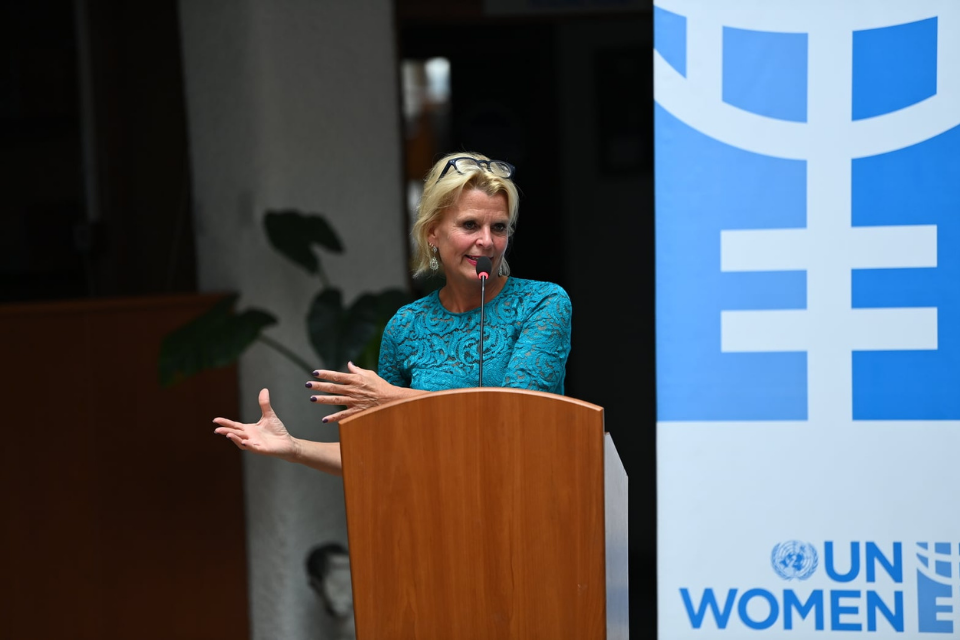 UN Women Deputy Executive Director and Assistant Secretary General, Åsa Regnér holds remarks during a high level meeting with civil society representatives on first official visit to Kosovo. Photo: UN Women Kosovo/Arben Llapashtica