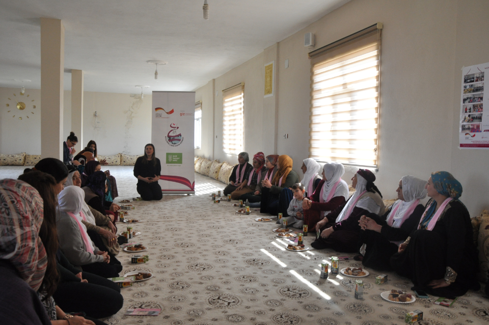 Women in southeastern Turkey gather for an experience sharing session. Photo: Leader Women Association
