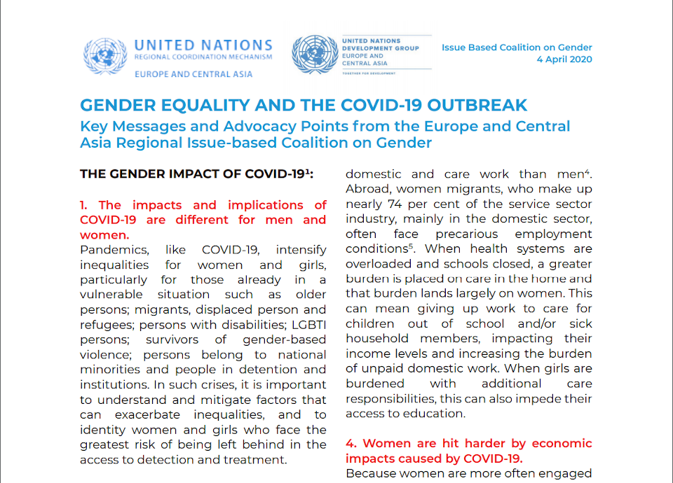 Gender equality and COVID19 outbreak