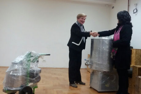 Zora Celovic (left) donates farming equipment to rural women. Photo: Biljana Komarica.