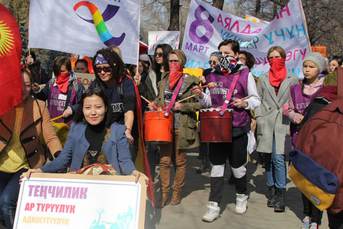 Participants of the march also calling for ensuring rights for freedom of movement for disadvantaged people, Bishkek, Kyrgyzstan. UN Women Kyrgyzstan/Meriza Emilbekova