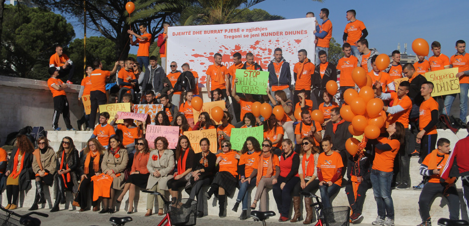 Orange Day Bicycle Ride in Tirana, Albania to commemorate the international day to End Violence against Women.    Photo: UN Women Albania