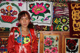 Sayohat Tashbekova with some of the goods she sells. Photo: UN Women/Aijamal Duishebaeva