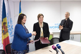 Alia El-Yassir (left), Acting Regional Director, UN Women Europe and Central Asia and H.E. Signe Burgstaller, Ambassador of Sweden in the Republic of Moldova. Photo: UN Women/Ramin Mazur
