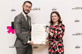 Askar Baitassov, CEO Of AB Restaurants and Elaine M. Conkievich, UN Women Representative Kazakhstan, Tajikistan, Turkmenistan and Uzbekistan during WEPs signing ceremony in Almaty, Kazakhstan. Photo: AB Restaurants
