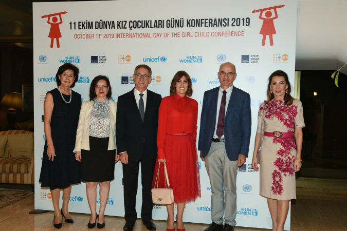 Representatives of UNICEF, UNFPA, UN Women and Aydin Dogan Foundation at the 5th International Day of the Girl Child Conference, 11 October, 2019. Photo: Aydın Doğan Foundation