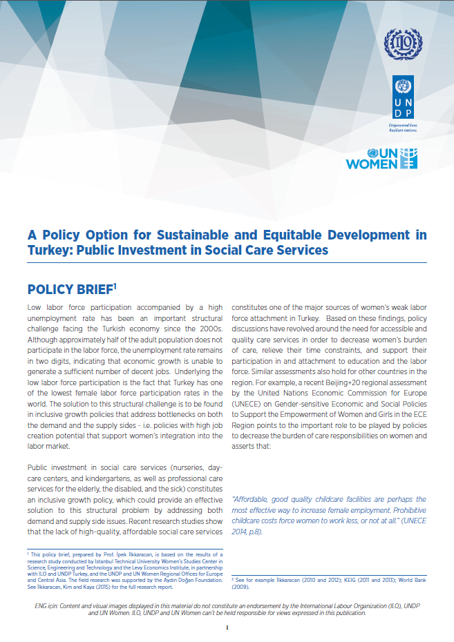 UN Women UNDP Social Care Policy Brief 2017 cover