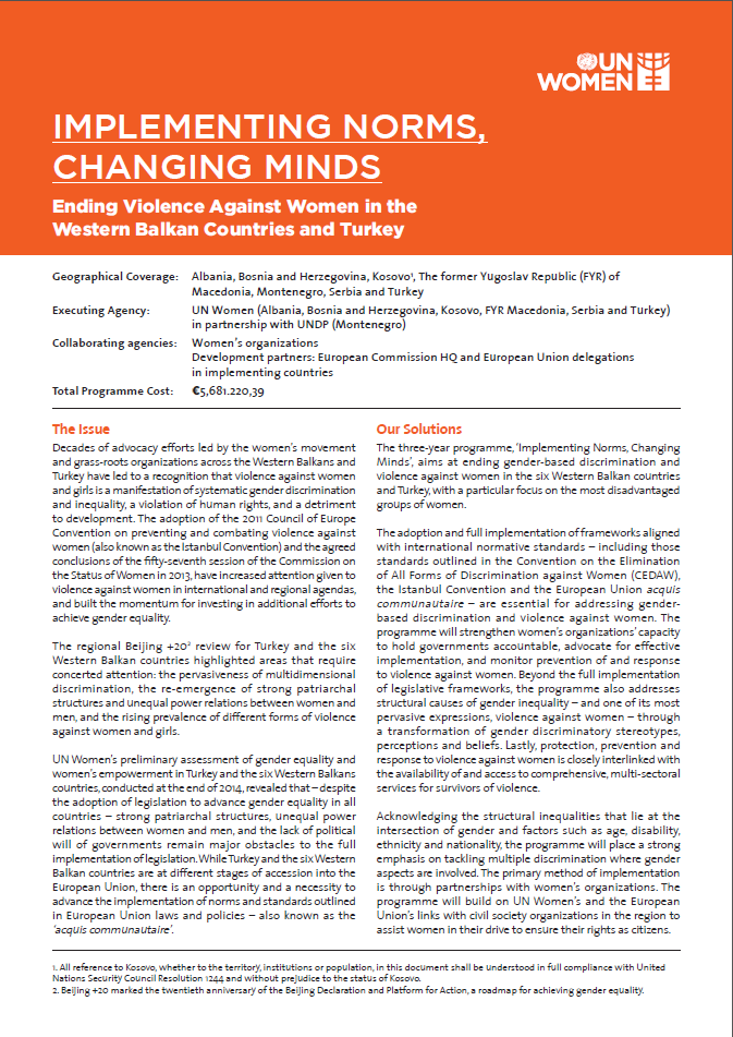 "Ending Violence against Women in the Western Balkans and Turkey: ""Implementing Norms, Changing Minds"""