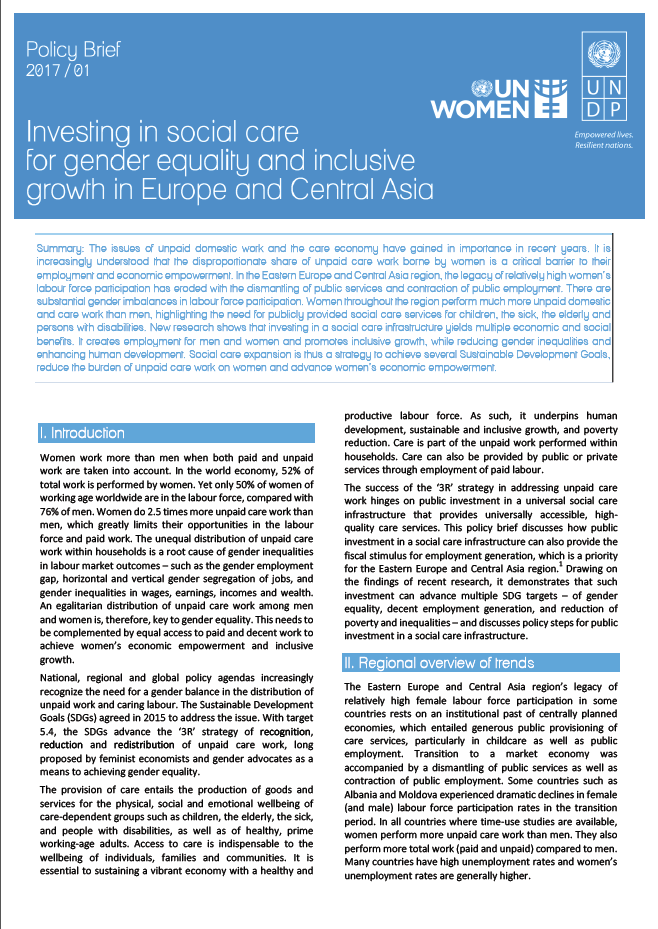 Policy Brief - Investing in social care for gender equality and inclusive growth in Europe and Central Asia