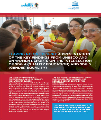 Leaving no one behind: A Presentation of the key findings from UNESCO and UN Women reports on the intersection of SDG 4 (Quality Education) and SDG 5 (Gender Equality)