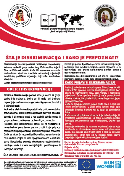 Flyer on discrimination in Bosnia and Herzegovina