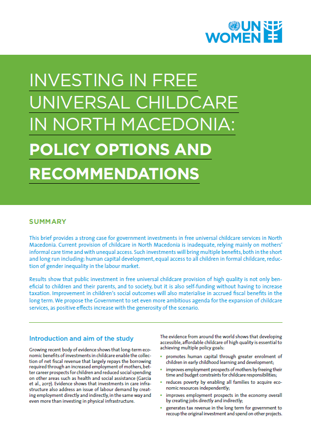 Investing in free universal childcare in North Macedonia: Policy options and recommendations