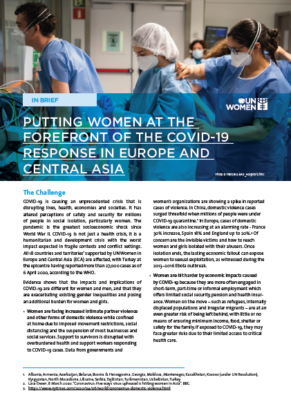 Putting women at the forefront of the COVID-19 response in Europe and Central Asia