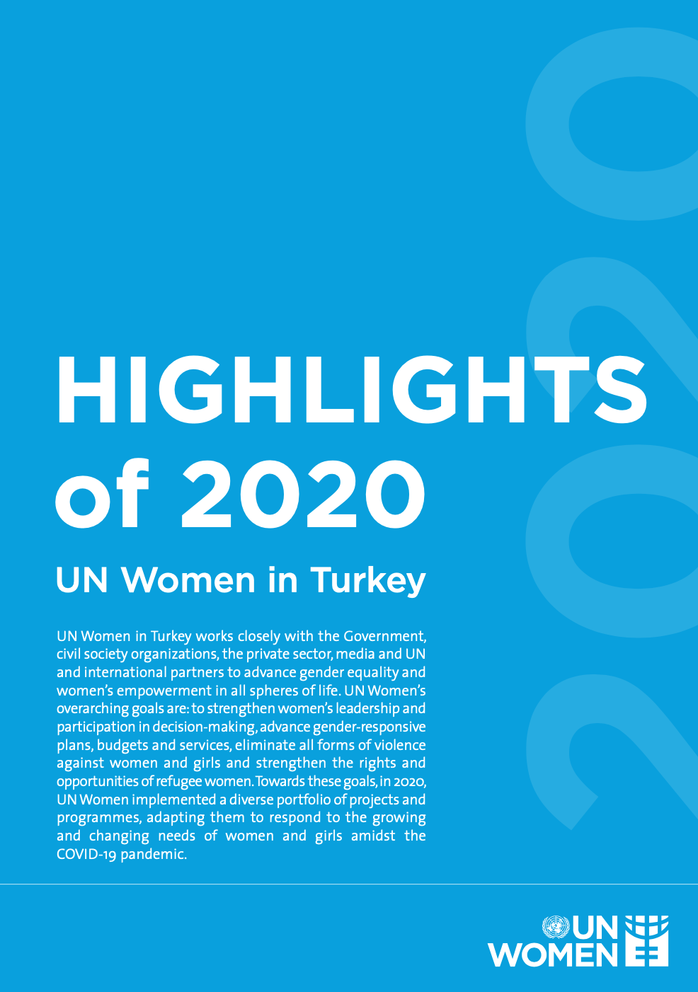Highlights of 2020, UN Women in Turkey Annual Report cover