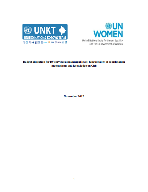 Budget Allocation for Domestic Violence Services at Municipal Level; Functionality of Coordination Mechanisms and Knowledge on Gender-responsive Budgeting