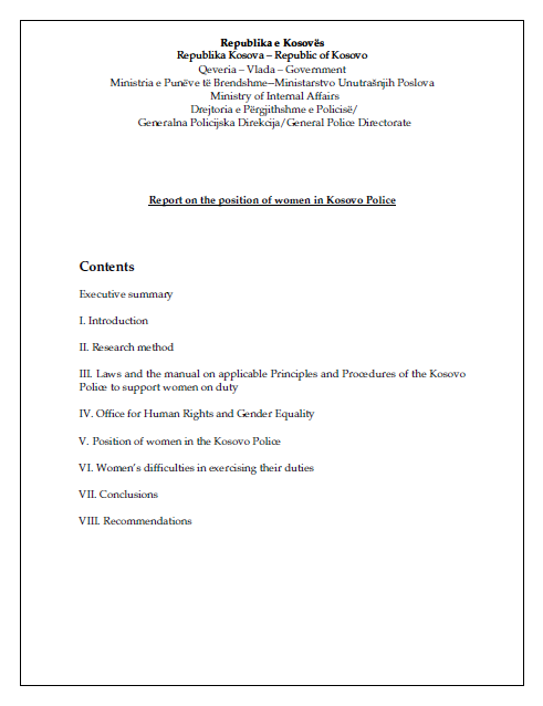 Report on the Position of Women in the Kosovo Police
