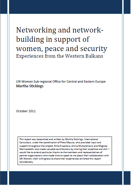 Networking and network-building in Support of Women, Peace and Security: Experiences from the Western Balkans