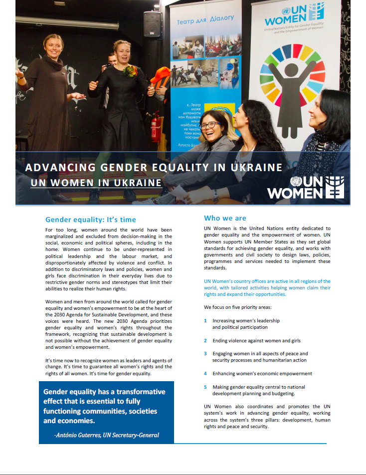 Advancing Gender Equality in Ukraine - UN Women in Ukraine