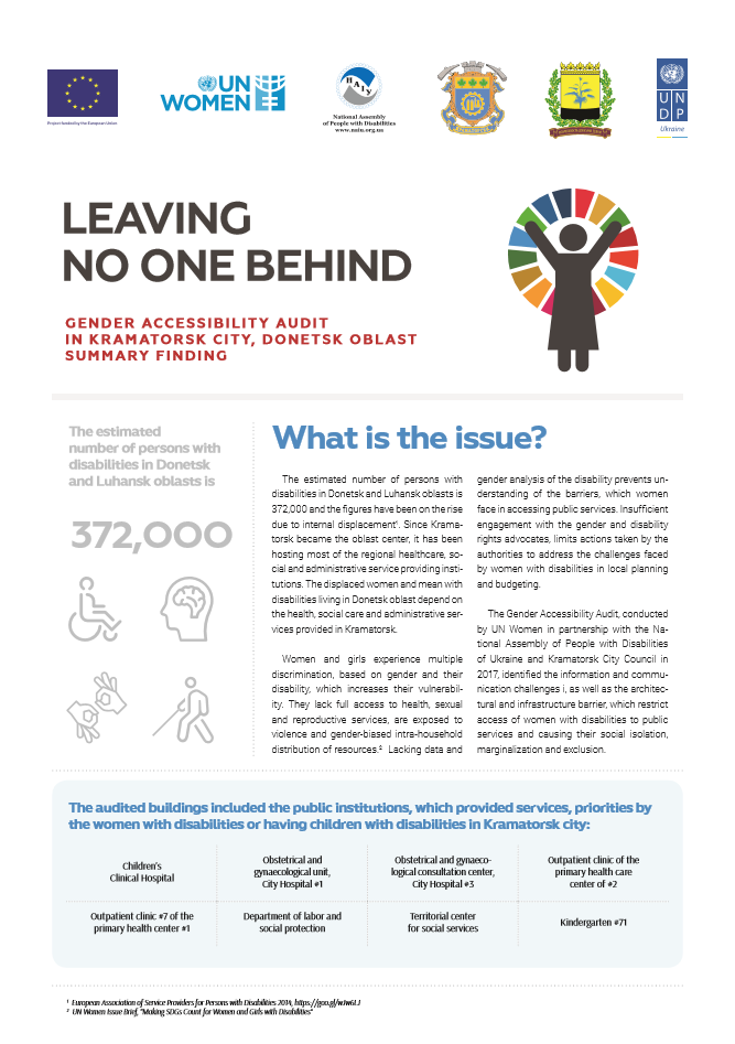 Leaving No One Behind: Gender Accessibility Audit in Kramatorsk City, Donetsk Oblast - Summary of Findings