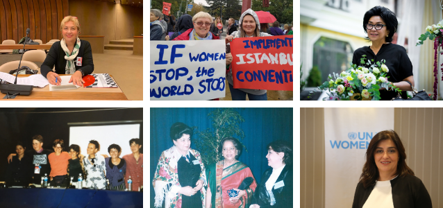 Activists who were at the Beijing Conference, an experience that shaped them in their quest to build a gender-equal world. Photos: Personal archives (left hand side & upper right hand corner), UN Women Turkey (lower right hand corner)
