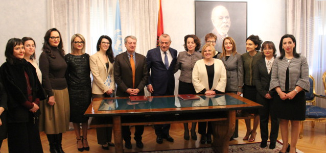 UN Women and the Parliament of Albania signed a Memorandum of understanding. Photo: UN Women Albania