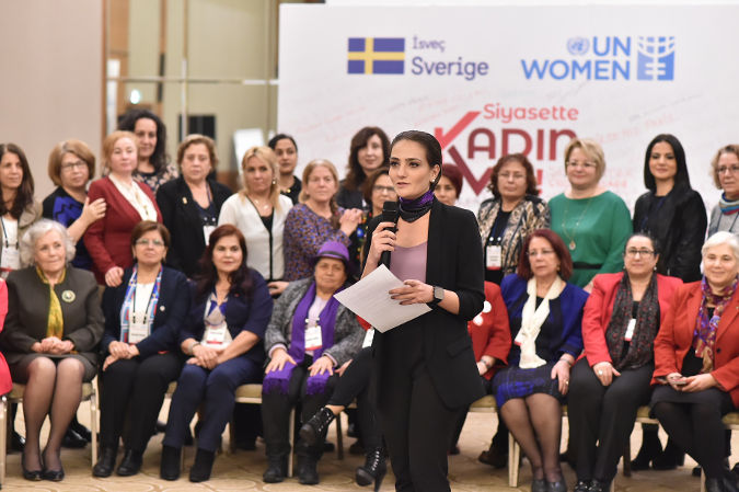 Women candidates read joint statements at Local Political Workshop in İzmir, Turkey. Photo credit: UN Women