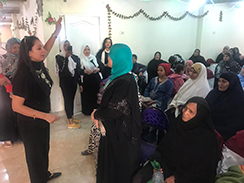 Ramadan facilitates an awareness-raising session in her work with the Al Shehab Foundation for Community Development. Photo: Courtesy of Al Shehab Foundation for Community Development