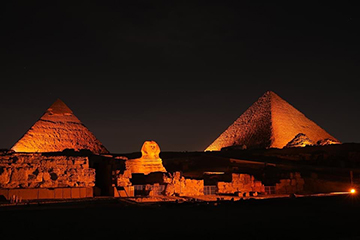 The National Council for Women and UN Women Egypt Light up the Great Pyramids of Giza in Orange to kick off the 16 Days of Activism against Gender-based Violence. Photo: UN Women/Mohamed Ezz AlDin