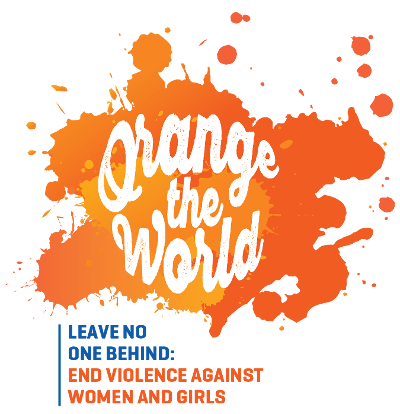 "Orange the World logo for 16 Days of Activism to end Violence against Women and Girls with ""Leave No One Behind"" as the Global Theme"