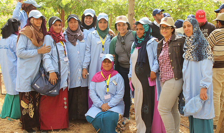 Samar with her coworkers at the Women Employment Promotion Programme