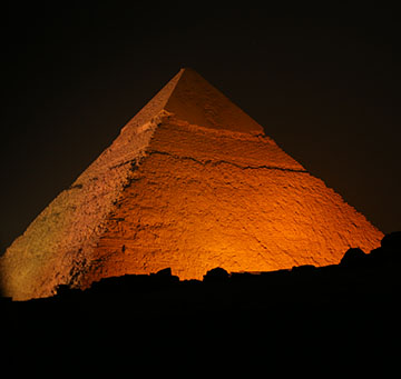 Lighting up the pyramids during the launch event of the 16 days of activism against gender-based violence.