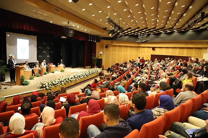 """The first panel discussion titled """"Women and Labor: An Arab Cultural Perspective"""" that was held in the event organized at Bibliotheca Alexandrina on March 19th, 2019."""