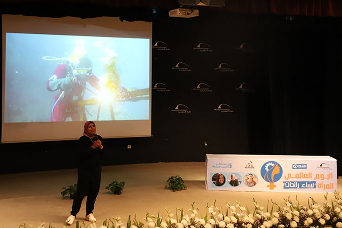 Somaya Zidan, the first Egyptian female underwater welder sharing her inspirational story during the public event that took place later in the day at Bibliotheca Alexandrina.