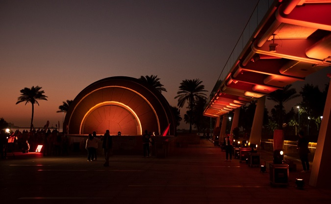Bibliotheca Alexandrina lit in orange for the 16 days. Photos: UN Women/ Haleem Elshaarani