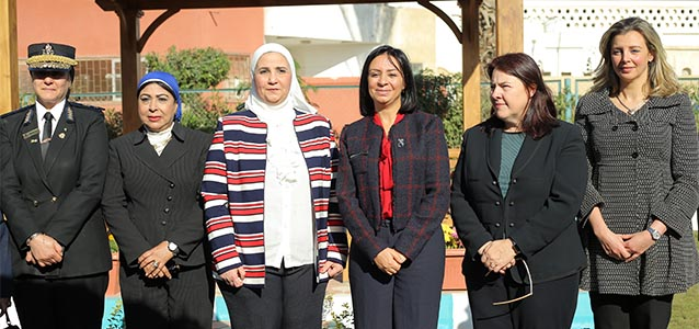 A group picture during the 6th of October Women's Shelter opening in Giza on 10 December featuring (left to right) General Manal Atef, Head of the Violence against Women Unit at the Ministry of Interior; Magda Mahmoud, Rapporteur of National Council for Women (NCW) Giza Branch; Dr. Nevine Al-Kabbaj, Deputy Minister of Social Solidarity; Dr. Maya Morsy, President of NCW; Rebecca Latorraca, USAID/Egypt Deputy Mission Director, Gielan ElMessiri, UN Women Head of Office, a.i. (Photo Credit: UN Women/ Alex Maher)