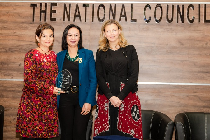 Maya Morsy, President of NCW (middle) and Gielan Elmessiri, UN Women Head of Office,a.i. (right) honoring Mariam Naoum, film writer (left). Photo Credits: UN Women/Ismail Hamdy