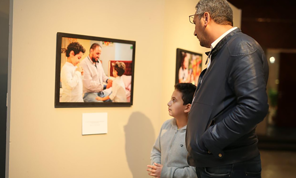 "Part the of the photo exhibit entitled ""Because I am a Father: Egyptian and Swedish Dads"" featuring photos from Egypt and Sweden, portraying the universal role of fatherhood."