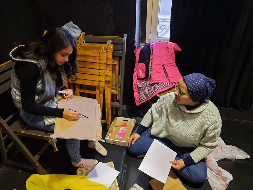 Samy (left) during her participation in the training programme in Applied Drama for Community Health and Empowerment. Photo: Courtesy of Dawar for Arts and Development