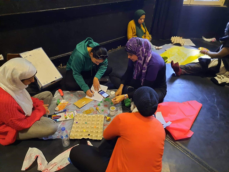 Saad (in purple) participates in a group activity as part of the training programme. Photo: Courtesy of Dawar for Arts and Development.