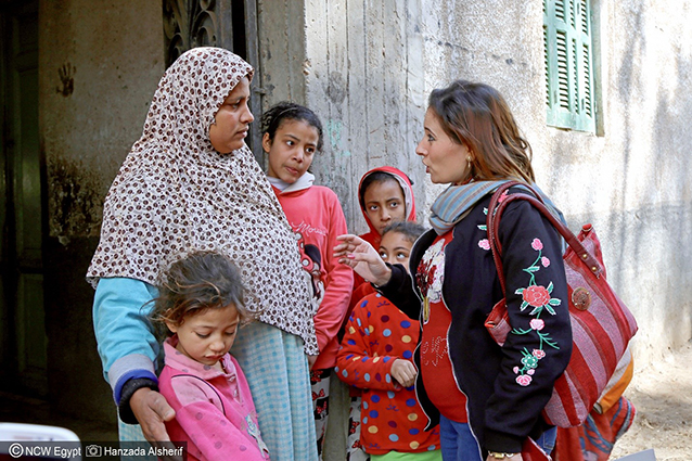 A door-knocking campaign was implemented across governorates by the NCW in order to spread awareness and end FGM. Photo: NCW Egypt/Hanzada Alsherif