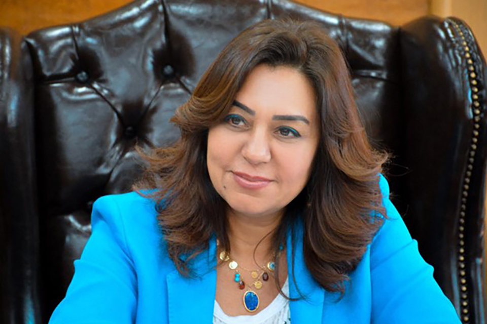 Dr. Manal Awad in her office. Photo Credit: Courtesy of Governorate of Damietta