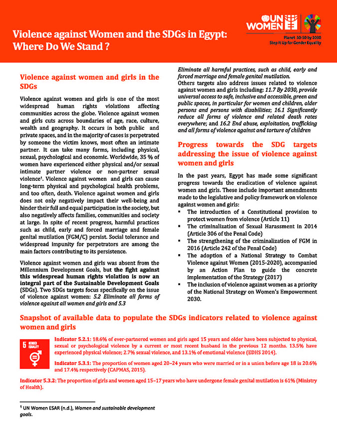 Violence Against Women and the SDGs in Egypt: Where Do We Stand?