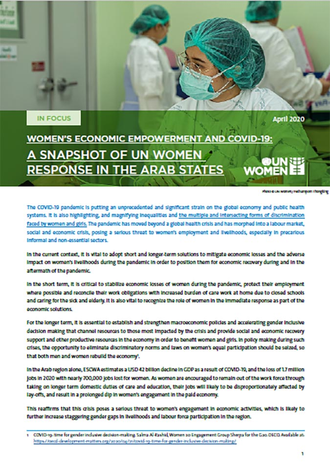 Women's Economic Empowerment and COVID-19: A Snapshot of UN Women Response in the Arab States