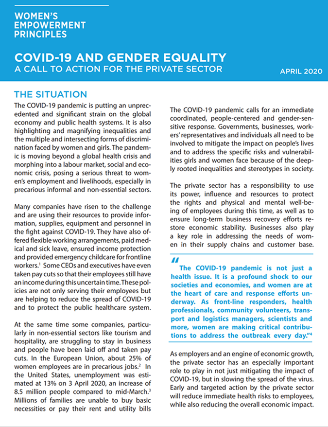 COVID-19 and Gender Equality: A Call to Action for The Private Sector