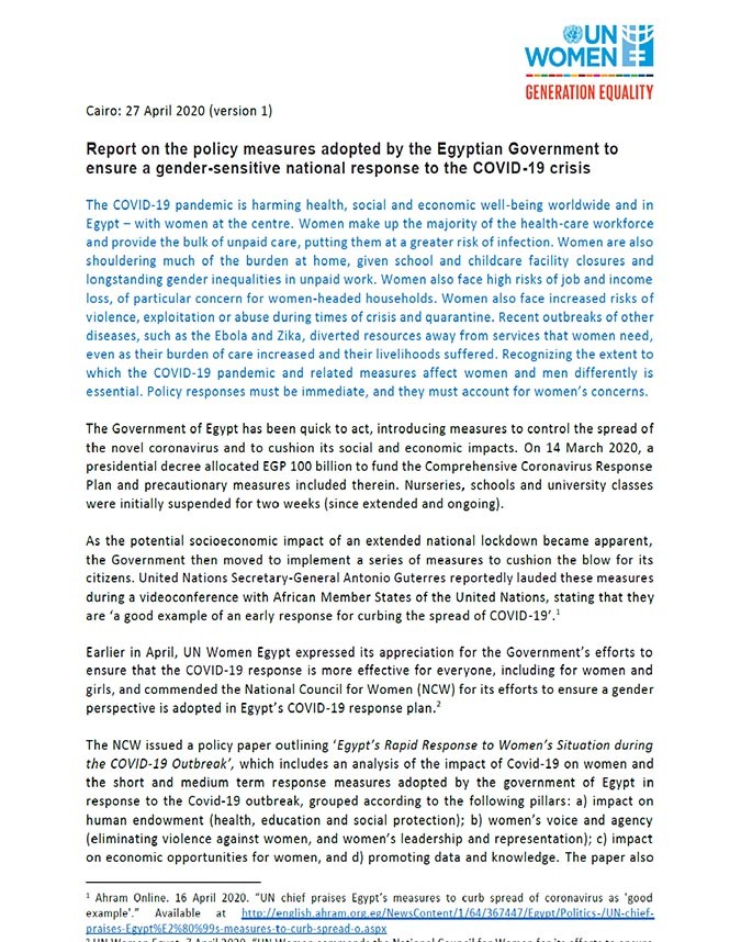 Report on the policy measures adopted by the Egyptian Government to ensure a gender-sensitive national response to the COVID-19 crisis