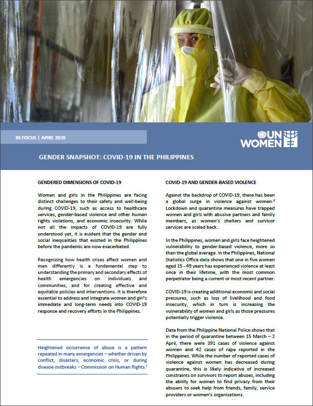 Gender Snapshot: COVID-19 in the Philippines