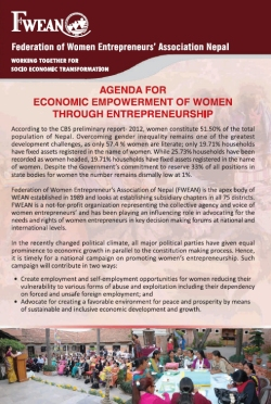Agenda for Economic Empowerment of Women through entrepreneurship