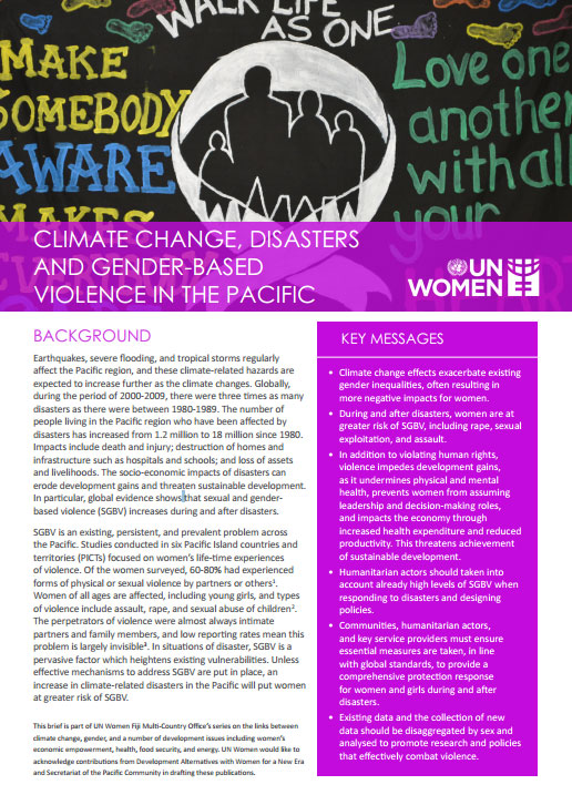 Climate change, disasters and gender-based violence in the Pacific