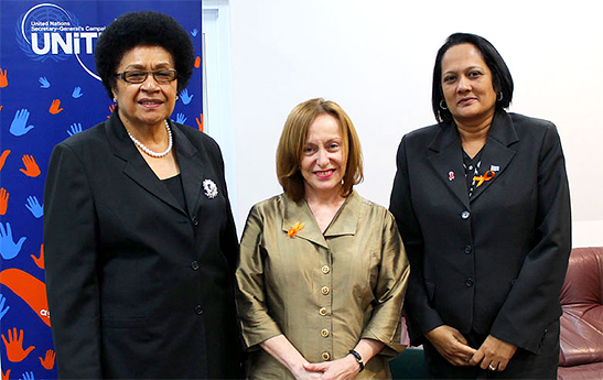 (From left to right) Fiji's Speaker of Parliament Dr Jiko Luveni, UN Resident Coordinator Osnat Lubrani, Minister of Women, Children and Poverty Alleviation Rosy Akbar.  Photo: UN Women/Sereana Narayan