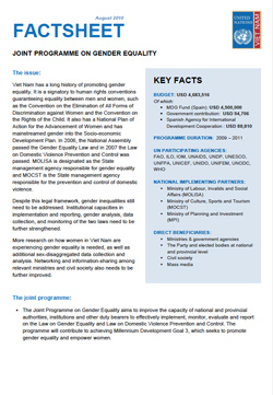 UN Joint Programme on Gender Equality - Factsheet